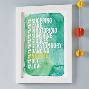 Personalised Hashtag Love List Print - pictures & prints for children