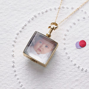 Vintage Style Square Gold Locket Necklace - for mothers