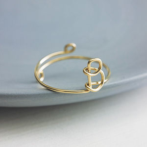 Gold Filled Initial Ring - monogram & script