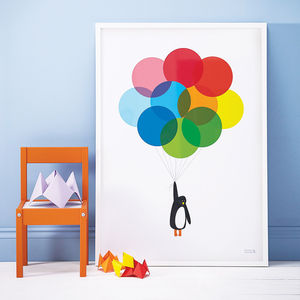 'Mr Penguin Balloon' Print - dates & special occasions