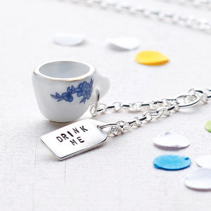 'Drink Me' Tea Cup Necklace