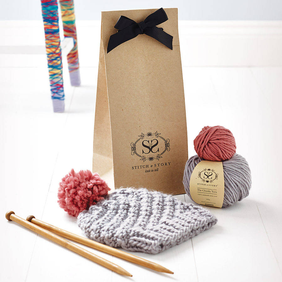 knitting kit beginner 39 s pom pom hat gift set by stitch story. Black Bedroom Furniture Sets. Home Design Ideas