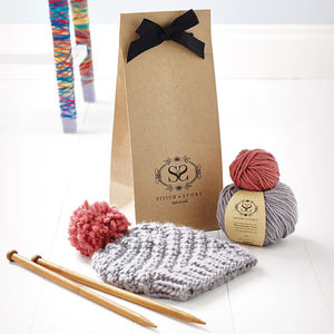 Knitting Kit Beginner's Pom Pom Hat Gift Set - for friends