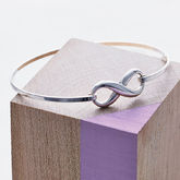 Sterling Silver Dainty Infinity Bangle - black friday sale