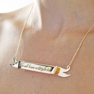 'We All Have A Story To Tell' Scroll Necklace
