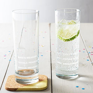Personalised Measures Hi Ball Glass - gifts for him