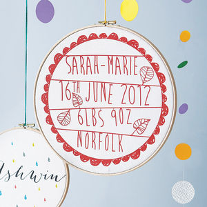 Personalised Baby Birth Hoop Frame - pictures & prints for children