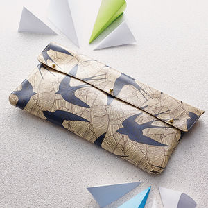 Leather Swallows Print Clutch Bag