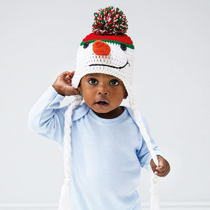 Infant's Hand Crochet Snowman Hat - children's christmas clothing