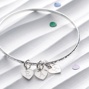 Silver Initial Heart Charm Bangle - gifts for her