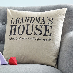 Personalised Grandparents 'House' Cushion - living room