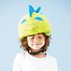 Child's Hi Vis Dinosaur Helmet Cover - personalised