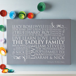 Personalised Family Word Art Print - ribbon & gift tags