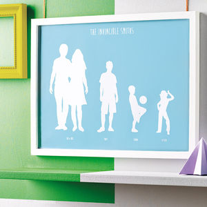 Personalised Silhouette Family Print - for fathers
