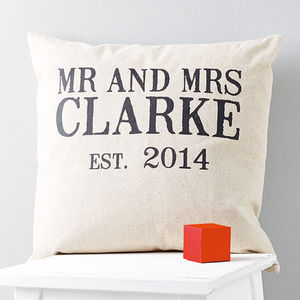 Personalised 'Mr And Mrs' Linen Wedding Cushion - 4th anniversary: linen