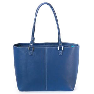 Blue Leather Zip Tote - bags & purses
