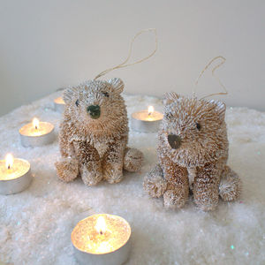 Set Of Two Brush Sparkling Christmas Bears