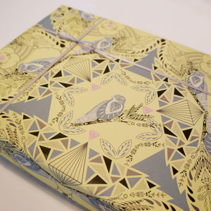 Lemon And Grey Birds Wrapping Paper - ribbon & wrap