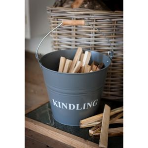 Metal Kindling Wood Bucket In Charcoal