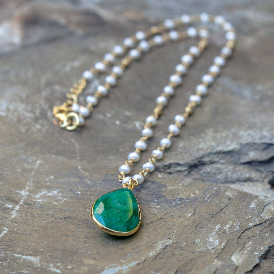 Emerald And Pearl Pendant Necklace By Rochelle Shepherd