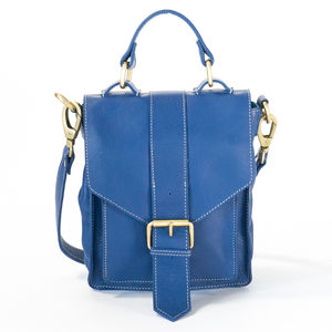 Blue Leather Satchel