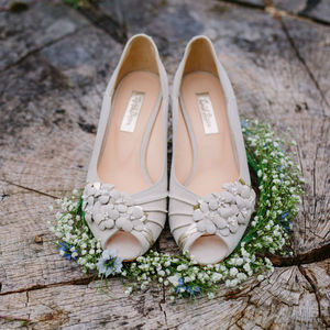 Orange Blossom Ivory Suede Vintage Wedding Shoes