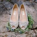 Orange Blossom Ivory Suede Vintage Wedding Shoes
