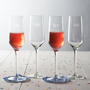 'Hip Hip Hooray' Champagne Glass Set - engagement gifts
