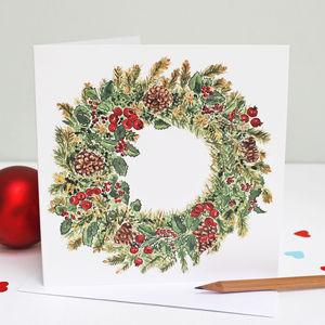 Christmas Wreath Card Single Or Pack - christmas card packs