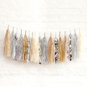 Silver Sand Tissue Tassel Garland - children's room