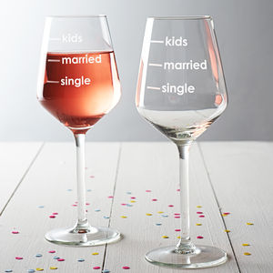 'Single, Married, Kids' Measures Wine Glass - gifts for new parents