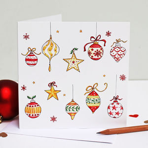 Stars And Baubles Christmas Card Single Or Pack - cards