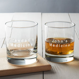 Personalised 'Medicine' Drinks Glass - for fathers