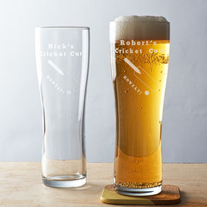 Personalised Cricket Pint Glass - christmas entertaining