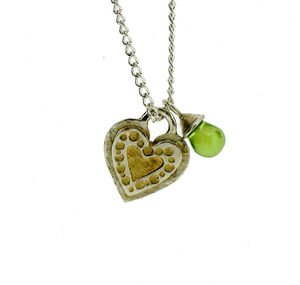 Silver And Gold Heart And Peridot Necklace