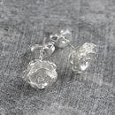Flower Rose Petal Silver Stud Earrings