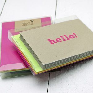 Pack Of Eight Neon Notecards - blank cards