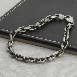 Men's Sterling Silver Anchor Chain Bracelet - more