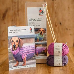 Dog Jumper Knitting Kit Dashing Dachshund - dogs