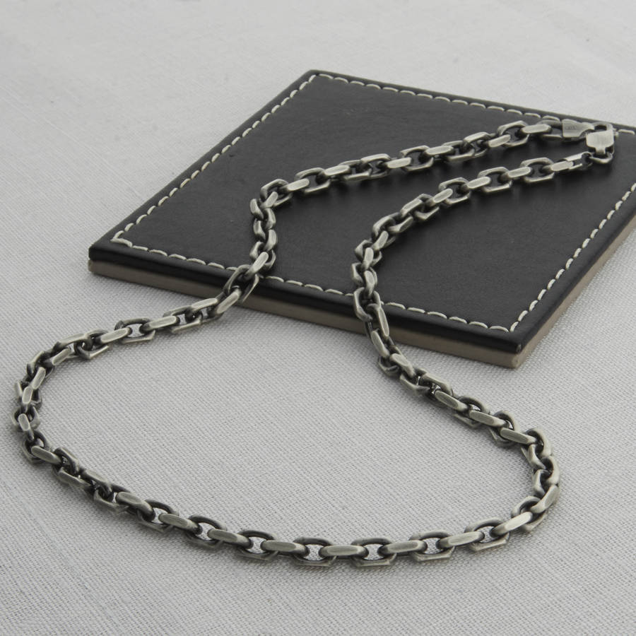 men's sterling silver anchor chain style necklace by ...