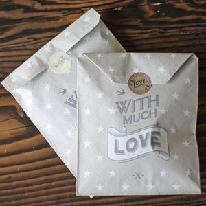 With Much Love Grey Paper Gift Bags X 40 - party bags and ideas