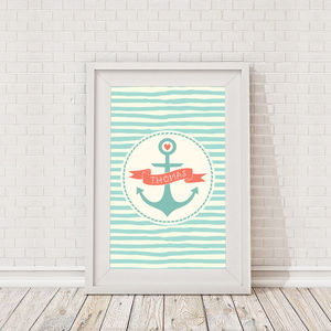 Personalised Childrens Nautical Anchor Framed Print