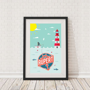 Personalised Childrens Fisherman Scene Framed Print