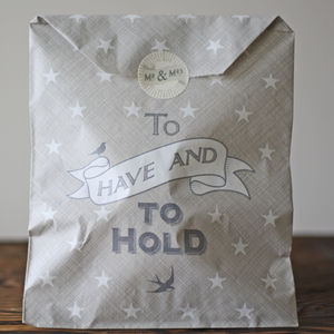 To Have And To Hold Grey Paper Gift Bags X 40 - ribbon & wrap
