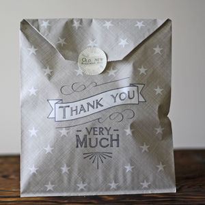 Thank You Very Much Grey Paper Gift Bags X 40 - wedding favours