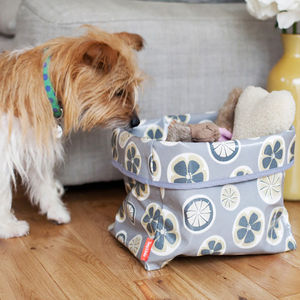 Oilcloth Dog Toy Storage Basket - gifts for pets