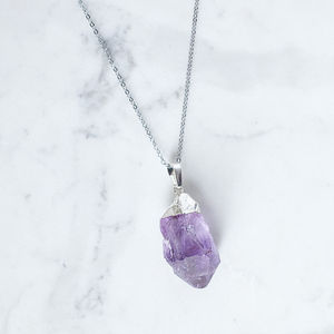 Amethyst Geometric Crystal Necklace - necklaces & pendants