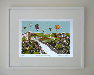 Balloons Over The Bridge Limited Edition Giclee Print - architecture & buildings