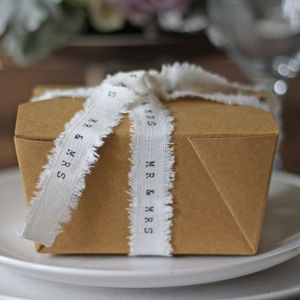 Folding Brown Card Gift Box - wedding favours