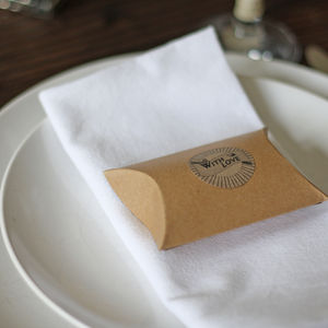 Brown Card Favour Box Pillow - wedding favours